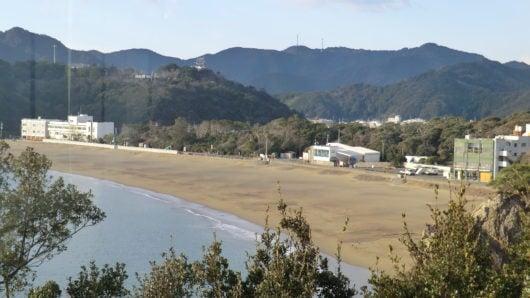 食堂から見た大浜海岸