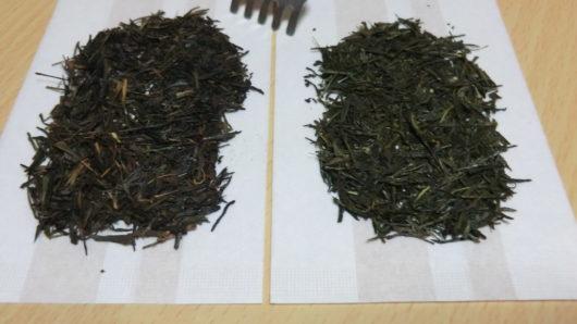 焙じる前の茶葉と焙じた後の茶葉