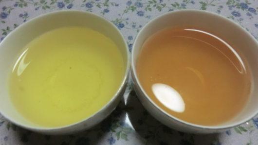 緑茶とほうじ茶の色の違い。お茶をいれた状態