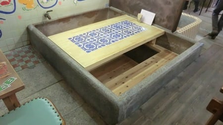 Change bath tub to cafe table.