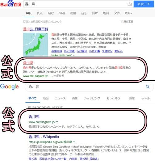 百度とグーグルで香川県を検索した結果