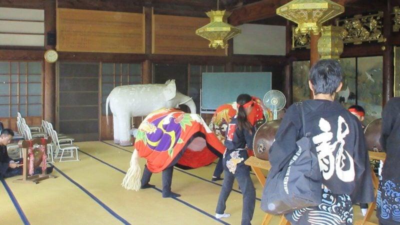 香川は獅子舞の盛んな県。神事だがお寺にも獅子舞が来る。丸亀円龍寺本堂での獅子舞の写真