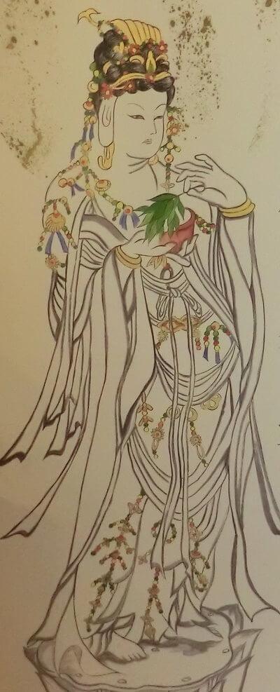 菩薩は瓔珞の首飾り胸飾りをしている